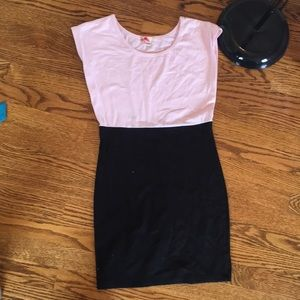 Forever21 pink and black bodycon dress